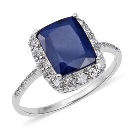 Kanchanaburi Blue Sapphire (Cush 10x8 mm), Natural White Cambodian Zircon Ring (Size T) in Rhodium Overlay St