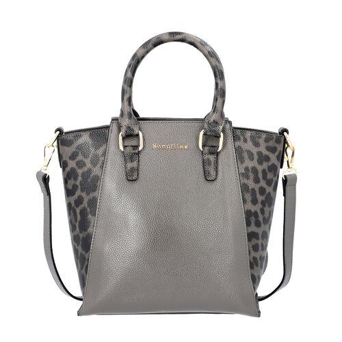 Sencillez 100% Genuine Leather Leopard Printed Handbag with Detachable Shoulder Strap (Size 23x11.5x