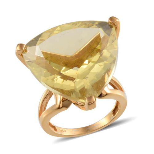 Brazilian Green Gold Quartz (Trl) Solitaire Ring in 14K Gold Overlay Sterling Silver 25.000 Ct.
