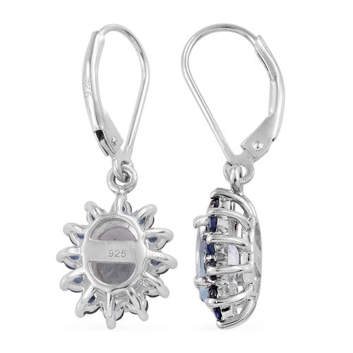 Espirito Santo Aquamarine (Ovl), Kanchanaburi Blue Sapphire Lever Back Earrings in Platinum Overlay Sterling Silver 3.000 Ct.