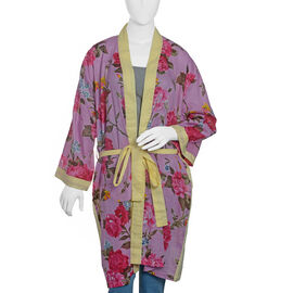 100% Cotton Pink,Yellow and Multi Colour Flower and Leaves Pattern Gown Size 100x66 Cm