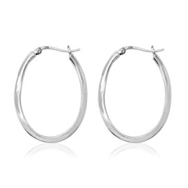 One Time Deal- Sterling Silver Hoop Earrings (with Clasp), Silver wt 5.03 Gms.