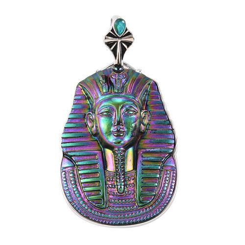 Sajen Silver - Pharaoh Carved Simulated Emerald and Celestial Peridot Doublet Quartz Enamelled Penda