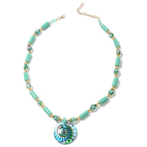Murano Style Glass (Rnd), Aqua Green Ceramic, Simulated Emerald, White Austrian Crystal and Multi Co