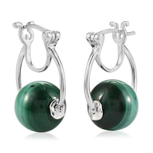Malachite Hoop Earrings (with Clasp) in Sterling Silver 5.00 Ct, Silver wt 5.30 Gms