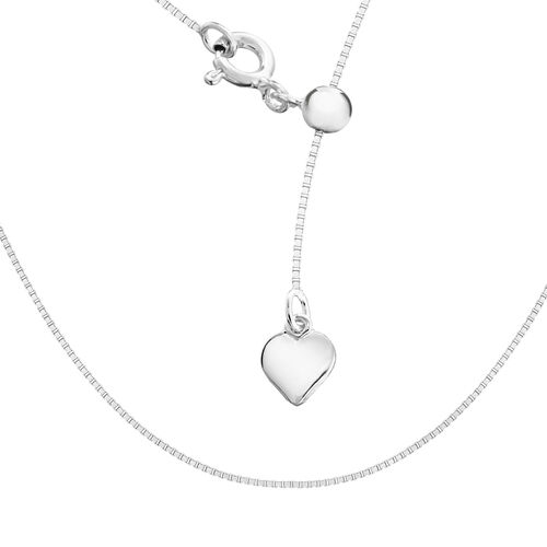Sterling Silver Sliding Adjustable Box Chain (Size 20)