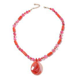 Red Agate (Pear), Ceramic, Fuschia Agate, Murano Style Glass, Simulated Ruby, White Austrian Crystal and Multi Colour Beads Necklace (Size 26 with 3 inch Extender) in Yellow Gold Plated
