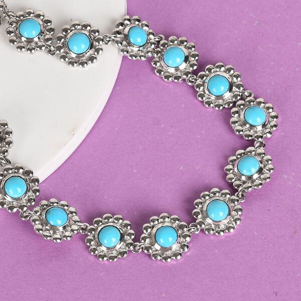 Arizona Sleeping Beauty Turquoise Floral Link Bracelet (Size 8) in Platinum Overlay Sterling Silver wt 13.00 Gms