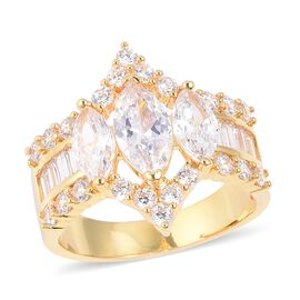 Simulated Diamond (Mrq) Ring (Size V) in Yellow Gold Plated