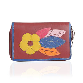 Super Auction- 100% Genuine Leather Red, Yellow and Multi Colour Flower Pattern RFID Blocker Ladies Wallet (Size 16x10x2 Cm)