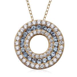 ELANZA Simulated Aquamarine (Rnd), Simulated Diamond Three Row Circle Pendant With Chain (Size 18) i