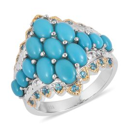 3.48 Ct Sleeping Beauty Turquoise and Apatite Cluster Ring in Gold Plated Silver 6.19 Grams