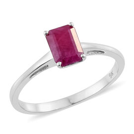9K White Gold AA Burmese Ruby (Oct) Solitaire Ring 1.300 Ct.
