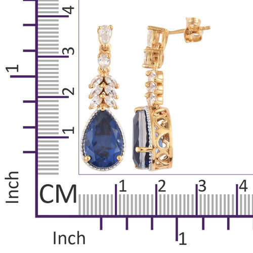 Ceylon Colour Quartz (Pear), Natural Cambodian Zircon Earrings (with Push Back) in 14K Gold Overlay Sterling Silver 11.750 Ct, Silver wt 6.35 Gms.
