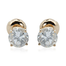 NY Close Out - 14K Yellow Gold Diamond (Rnd) (I1-I2/G-H) Earrings (with Screw Back) 1.000 Ct.