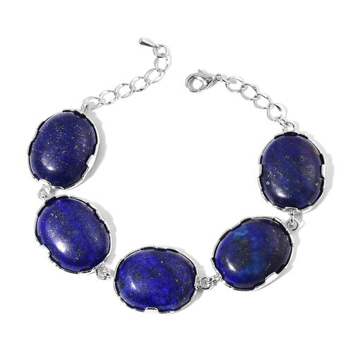 365 Ct Lapis Lazuli Station Bracelet 7.5 with 1.5 inch Extender