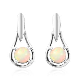 Ethiopian Welo Opal Drop Earrings in Platinum Overlay Sterling Silver 1.00 Ct.