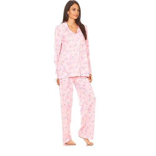 Amanda Paige Sleepwear Pink Soft and Comfortable Floral Pattern Knit Pyjama Set with Notch Collar an