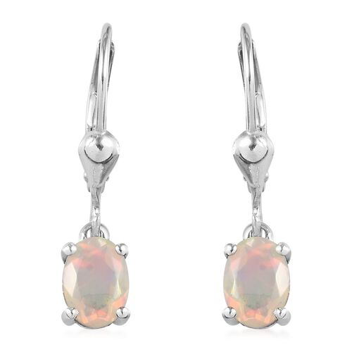 1 Carat AA Ethiopian Welo Opal Solitaire Drop Earrings in Platinum Plated Silver