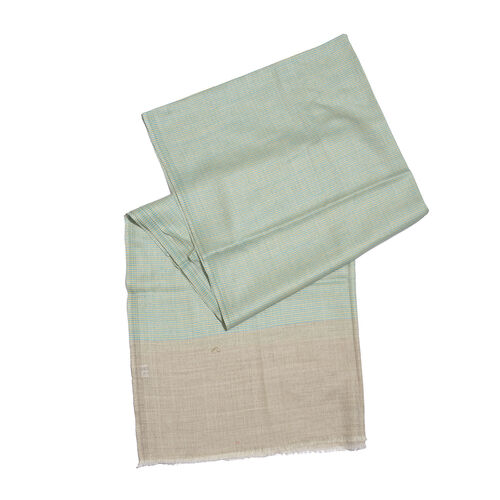 100% Cashmere Wool Linden Green and Beige Colour Shawl with Fringes (Size 200X70 Cm)