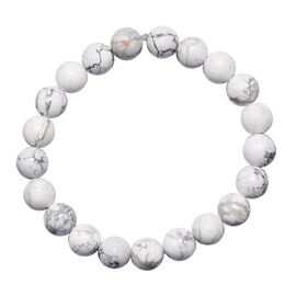 White Howlite Stretchable Beaded Bracelet 7.5 Inch