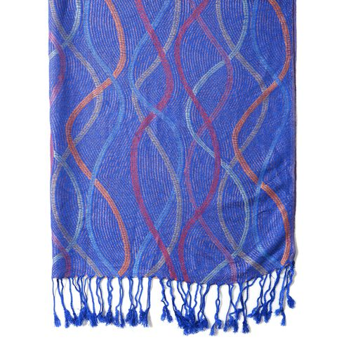 Designer Inspired- Navy Blue and Multi Colour Scarf with Wave Pattern (Size 180x70 Cm)