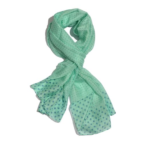 100% Mulberry Silk Blue Polka Dots Pattern Green Colour Scarf (Size 175x100 Cm)