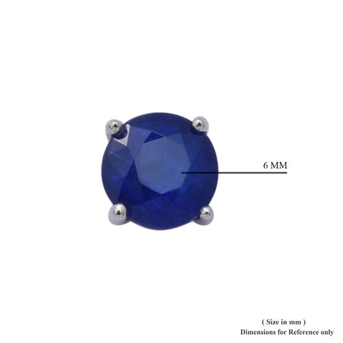 Tanzanian Blue Spinel Stud Earrings (with Push Back) in Rhodium Overlay Sterling Silver 1.16 Ct.
