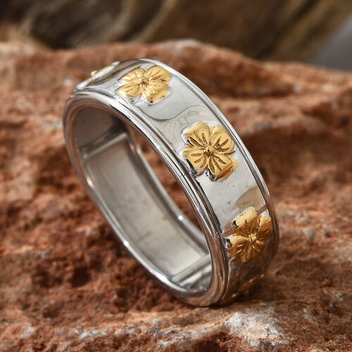 Designer Inspired-Yellow Gold and Rhodium Plated Sterling Silver Spinner Ring, Silver wt. 5.52 Gms.