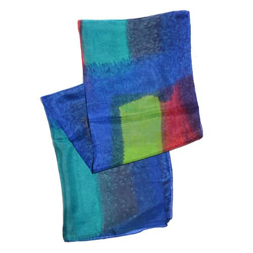 100% Mulberry Silk Blue, Green, Red and Multi Colour Hand Screen Printed Scarf (Size 180x50 Cm)