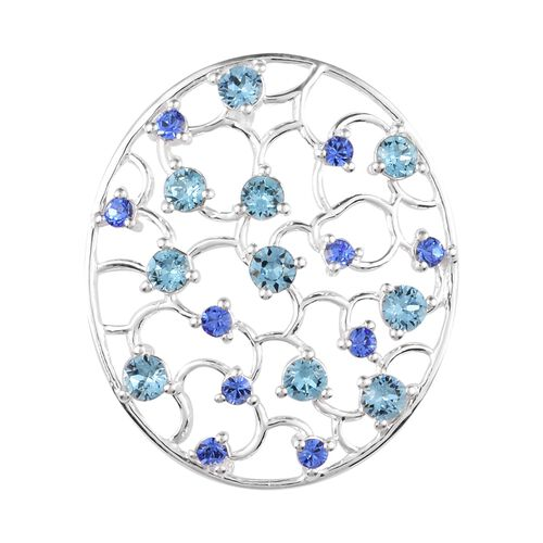 J Francis Crystal from Swarovski Aquamarine and Sapphire Crystal Pendant in Sterling Silver