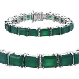 41.2 Ct Verde Onyx Tennis Bracelet in Platinum Plated Sterling Silver 17 Grams 7 Inch