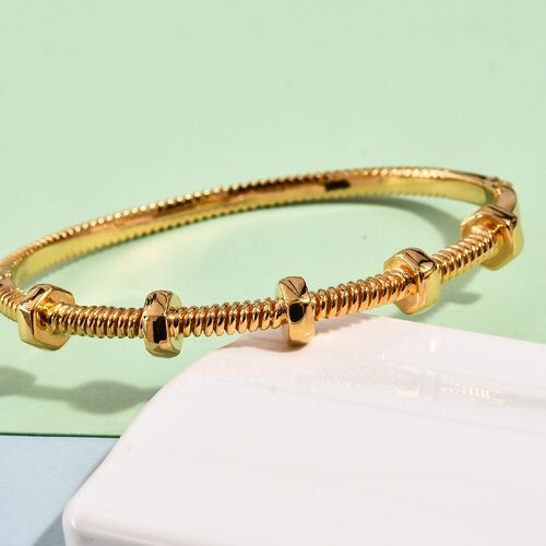 Designer Inspired- 14K Gold Overlay Sterling Silver Bangle (Size 7.5) Silver Wt. 31.12 Gms