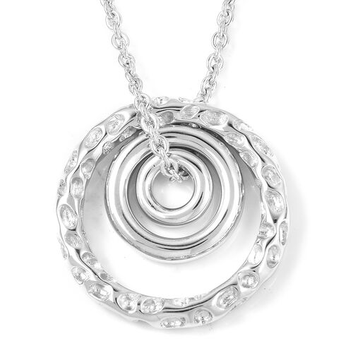 RACHEL GALLEY Rhodium Plated Sterling Silver Concentric Circle Pendant With Chain (Size 20), Silver
