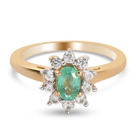 Boyoca Colombian Emerald and Natural Cambodian Zircon Sunflower Halo Ring in 14K Gold Overlay Sterli