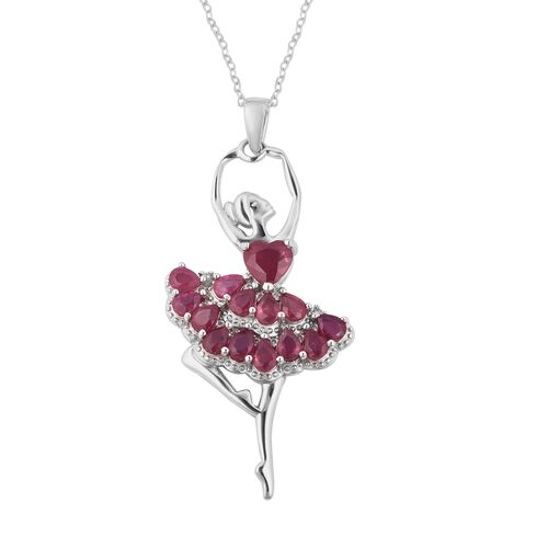 4.4 Ct African Ruby and Cambodian Zircon Ballerina Pendant with Chain in Sterling Silver 4.92 Grams