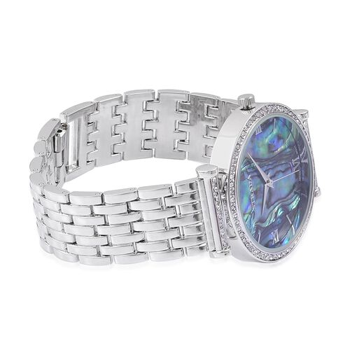 STRADA Japanese Movement Abalone Shell Dial with White Austrian Crystal Watch in Silver Tone with Stainless Steel Back