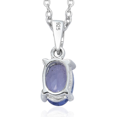 Signature Collection Premium Size Tanzanite (Ovl 7.5x5.5 mm) Solitaire Pendant With Chain (Size 18) in Platinum Overlay Sterling Silver 1.090 Ct.