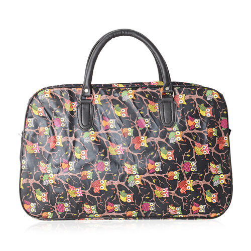 Super Chic Owls Pattern Water Resistant Large Weekend Handbag  with Adjustable and Removable Shoulder Strap (Size 50x30x17 Cm)