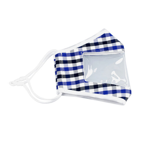 Gingham Pattern Reusable Two layer Face Cover with Transparent Window (Size 24x14 Cm) - Navy Blue