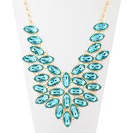 Simulated Blue Topaz BIB Necklace (Size 20 and 3 inch Extender)