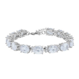 Simulated Diamond Tennis Bracelet in Silver Plated 7 with 1 inch Extender