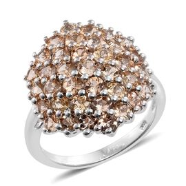 5.25 Ct Imperial Topaz Cocktail Cluster Ring in Platinum Plated Sterling Silver