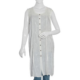 Off White Colour Straight Dress with Embroidery (Free Size)