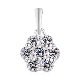 J Francis - Rhodium Overlay Sterling Silver Pressure Set Pendant Made with SWAROVSKI ZIRCONIA