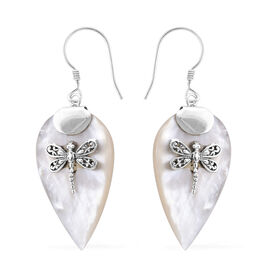 Royal Bali Collection Mother of Pearl Dragonfly Hook Earrings in Sterling Silver