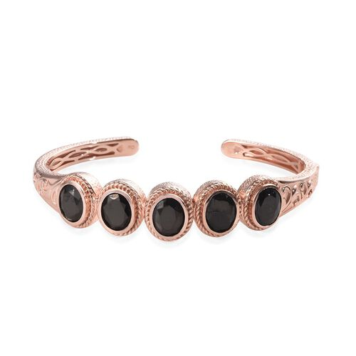 7.25 Ct Shungite 5 Stone Hinged Bangle in Copper with Magnet 7.5 Inch