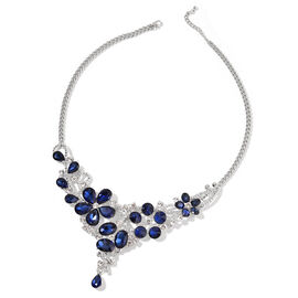 Simulated Blue Sapphire and White Austrian Crystal BIB Necklace (Size 22) in Silver Tone
