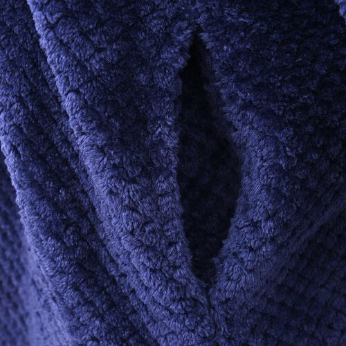 Microfibre Soft Jacquard Flannel Robe with Pocket and Zip-Front (Size 60x116 Cm) - Navy Blue