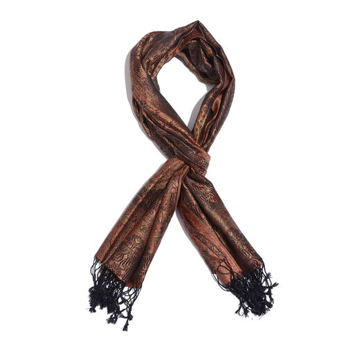 SILK MARK- 100% Superfine Silk Chocolate, Maroon and Multi Colour Jacquard Jamawar Scarf with Tassels (Size 180x70 Cm) (Weight 125 - 140 Gms)